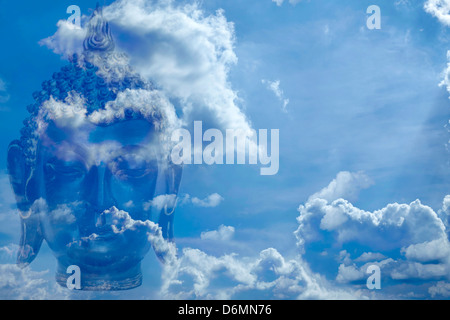 Buddha head in sky - Stock Photo
