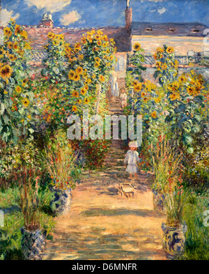 Captivating ... The Artists Garden At Vetheuil By Claude Monet   Stock Photo