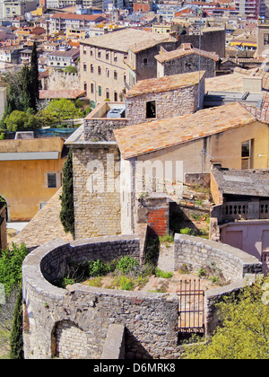 Girona cityscape, photo was taken from the city walls in the morning. - Stock Photo