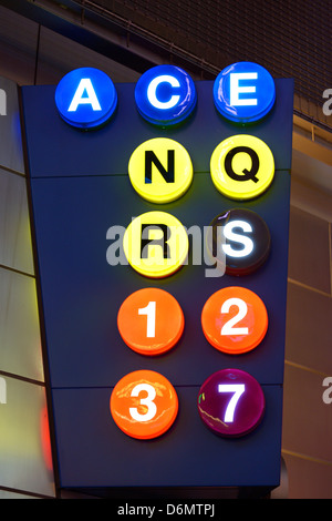 Sign for subway lines in New York City at Times Square-42nd Street Station. - Stock Photo