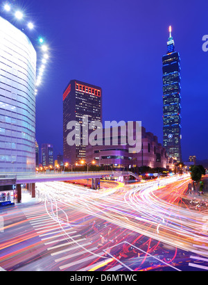 Taipei, Taiwan cityscape with famed skyscraper - Stock Photo
