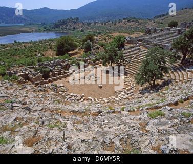 The Roman amphitheater of Kaunos, near Dalyan, Muğla Province, Turkey - Stock Photo