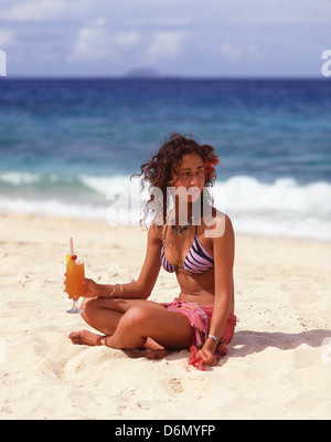 Young woman on beach, Beachcomber Island Resort, Beachcomber Island, Mamanuca Islands, Republic of Fiji