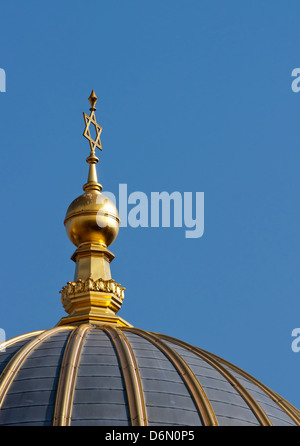Berlin, Germany, Spire of the New Synagogue in Oranienburger Strasse - Stock Photo