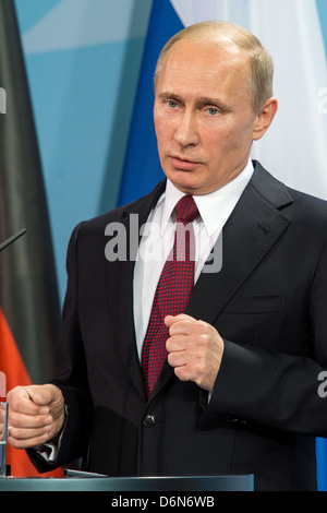Berlin, Germany, Vladimir Vladimirovich Putin, President of the Russian Federation, the Federal Chancellery - Stock Photo