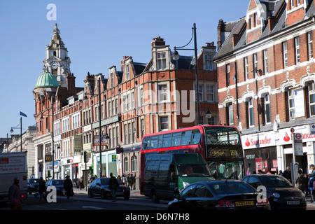 Brixton high Street in Lambeth - London UK - Stock Photo