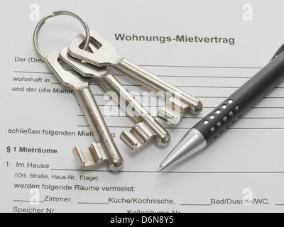 key handover,lease agreement,house key - Stock Photo
