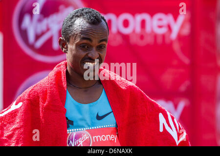 21.04.2013 London, England. Men's winner Tsegaye Kebede (Ethiopia) during the The Virgin London Marathon. - Stock Photo