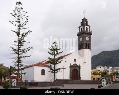 The church Nuestra Señora de Los Remedios in Buenavista Del Norte, Tenerife Spain fully restored after fire damage - Stock Photo