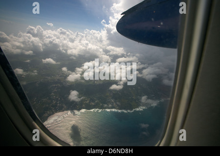 Seawell, Barbados, view from an airplane of the Caribbean airline LIAT - Stock Photo