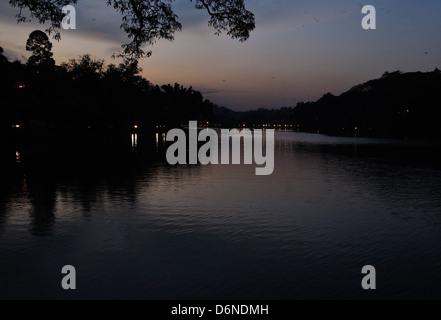 View of Kandy Lake, Sri Lanka at night - Stock Photo