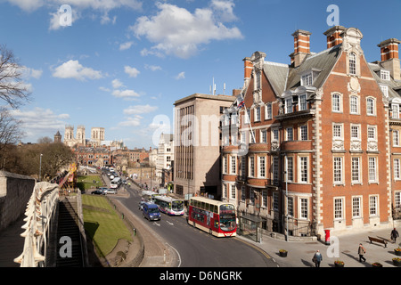 York city centre with The  Grand Hotel and the old city walls in the foreground, UK - Stock Photo
