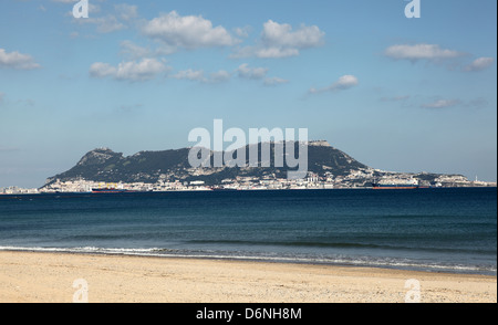 Rock of Gibraltar view from a spanish beach - Stock Photo