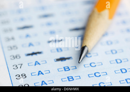 Optical scan answer sheet for a school exam - Stock Photo