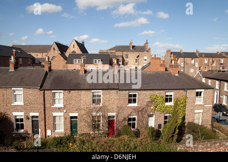 A row of terraced houses, Dewsbury Terrace, the City of York, Yorkshire, UK - Stock Photo