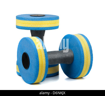 Two pastic dumbbells for water aerobics isolated on white - Stock Photo
