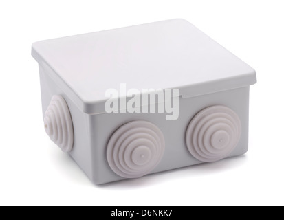 Grey plastic electrical junction box isolated on white - Stock Photo