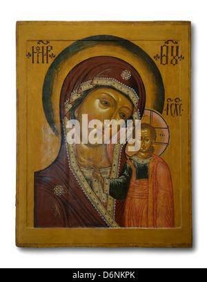 Old orthodox icon 'Our lady of Kazan' 17 century - Stock Photo