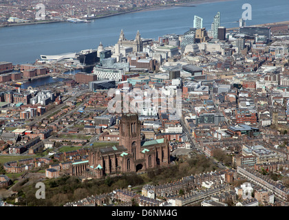 aerial view of Liverpool city on Merseyside in the UK - Stock Photo