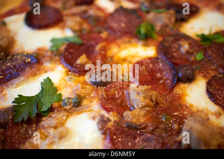 Close up of a Pepperoni pizza topped with pepperoni sausage and anchovies served in a restaurant - Stock Photo