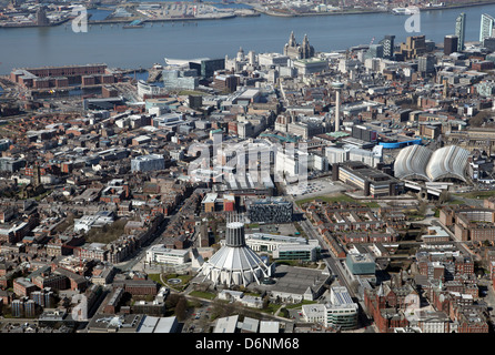 aerial view of Liverpool city on Merseyside in the UK, - Stock Photo