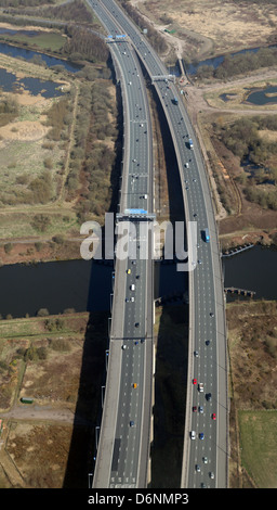aerial view of the Thelwall Viaduct M6 at Warrington over the Manchester Ship Canal - Stock Photo
