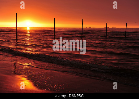 Wangerooge, Germany, View of the sunset from the beach - Stock Photo