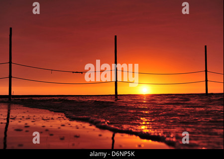 Wangerooge, Germany, view from the beach at the sunset - Stock Photo
