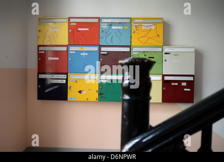 Berlin, Germany, letter boxes in a hallway of an old building - Stock Photo