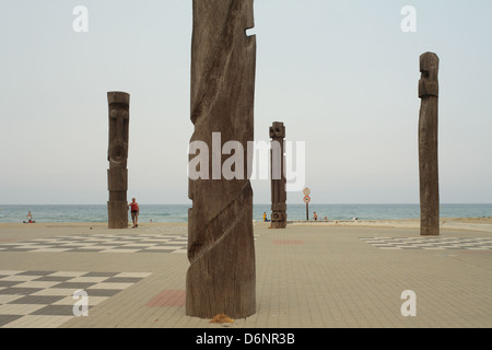 Le Barcares, France, Sculpture on the promenade in the seaside resort of Le Barcares - Stock Photo