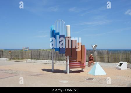 Le Barcares, France, Art on the beach promenade avenue des Arts - Stock Photo