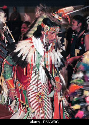 Native American Indian dance at pow wow Great Sioux reservation Pine Ridge South Dakota, Indian Chief, dance pow - Stock Photo