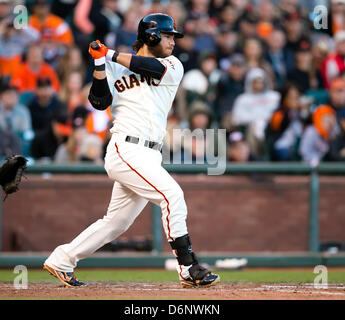 San Francisco, USA. 21st April, 2013. San Francisco Giants shortstop Brandon Crawford (35) in action during the - Stock Photo