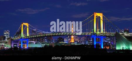 Rainbow Bridge in Tokyo, Japan Stock Photo