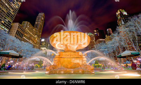 Fountain in Bryant Park in New York City. - Stock Photo