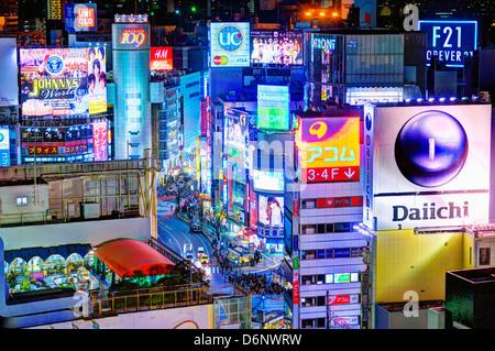 Billboards in Shibuya, Tokyo, Japan. - Stock Photo