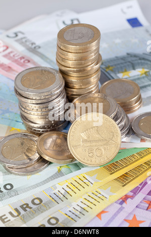 Berlin, Germany, Euro notes, Euromuenzen and former Greek Drachma coin - Stock Photo
