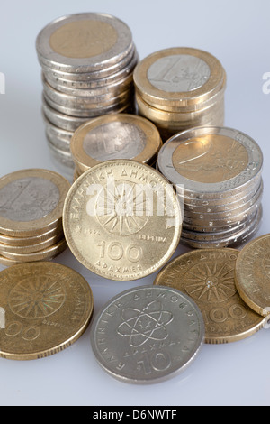 Berlin, Germany, Euromuenzen and former Greek drachma coins - Stock Photo