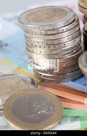 Berlin, Germany, Euro notes and Euromuenzen Stock Photo