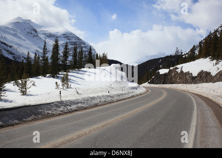 Driving through the Canadian Rockies in Banff National Park on Highway 93 - Stock Photo