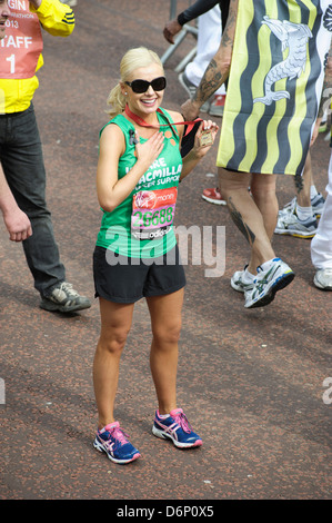 Katherine Jenkins crosses the Virgin London Marathon Finish line on 21/04/2013 at The Mall, London. Persons pictured: - Stock Photo