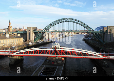 River Tyne, spanned by the Swing Bridge, Tyne Bridge and Millennium Bridge, Newcastle and Gateshead, Tyne and Wear, - Stock Photo