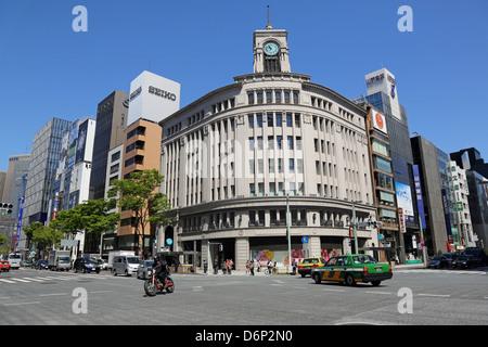 Street scene in Ginza, Tokyo, Japan - Stock Photo