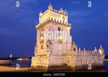 The Tower of Belem, Manueline fortress, UNESCO World Heritage Site, on the River Tagus (Rio Tejo), Belem, Lisbon, - Stock Photo