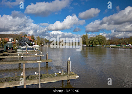 Riverside view in winter sunshine, Henley-on-Thames, Oxfordshire, England, United Kingdom, Europe - Stock Photo