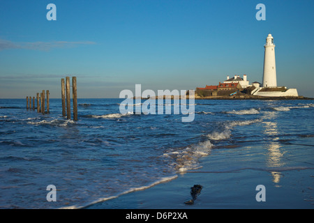 St. Marys lighthouse, Whitley Bay, North Tyneside, Tyne and Wear, England, United Kingdom, Europe - Stock Photo