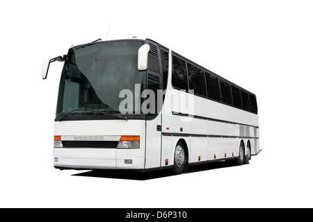 White coach bus isolated over white background. - Stock Photo