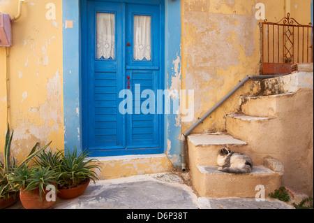 Blue door, Ermoupoli (Khora), Syros Island, Cyclades, Greek Islands, Greece, Europe - Stock Photo