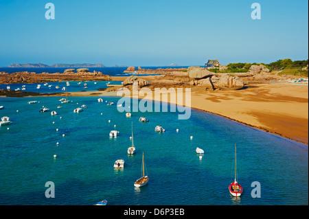 Beach of Tregastel, Cote de Granit Rose, Cotes d'Armor, Brittany, France, Europe - Stock Photo
