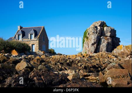 Pors Hir harbour, Cote de Granit Rose, Cotes d'Armor, Brittany, France, Europe - Stock Photo